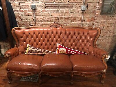 Antique Leather Couch Victorian