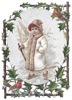 C. D. Kenny Die Cut Victorian Trade Card Girl,holly, Robin, Snow Scene.baltimore