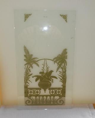 Kitchen Parlor Floral Painted Glass Shelf Mantle Wall Clock Ansonia Gilbert NOS
