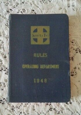 1948 Atchison Topeka & Santa Fe Railroad Rules Operating Department Book AT&SF