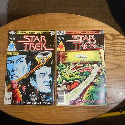 Star Trek The Motion Picture #1 and #2 Marvel Comics 1980 Lot of two Comic books