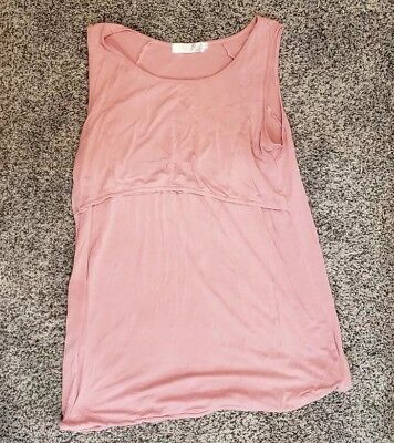 Latched Mama Pink Nursing Tank Top Shirt Sleeveless XL