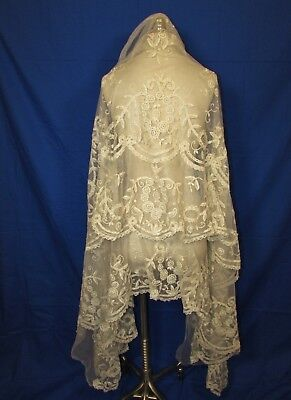 Appliqued Lace, Net Fragment, Ruffles, Early 20Th Century, Possibly Veil, Spread