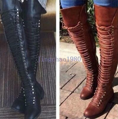 Hot sale Women Over the Knee Thigh High Lace Up Bandage Combat  Boots Shoes New