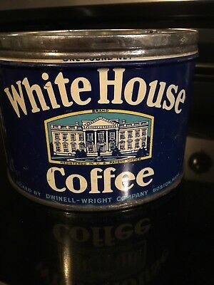 RARE....Vintage White House 1 LB Coffee Can Tin, Key Wind Advertising No Lid
