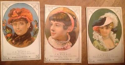 1885c Victorian Trade Cards J E Way Shoes East Liverpool Ohio