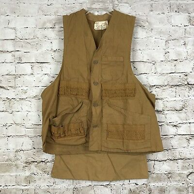 Vintage 50's Hettrick American Field Canvas Hunting Vest Large Brown Tan