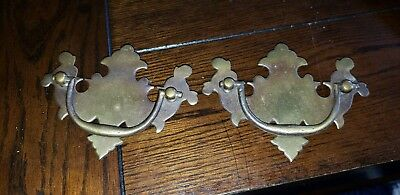 """2 Brass Antique Hardware Vintage Chippendale Batwing drawer pull  3"""" centers lot"""