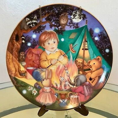 """1991 Japan Franklin Mint Carol Lawson """"Camping Out"""" Collector Plate"""