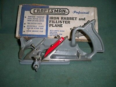 Craftsman No. 3730 Rabbet and Fillister Plane W/Box Like a Stanley 78 Very Nice
