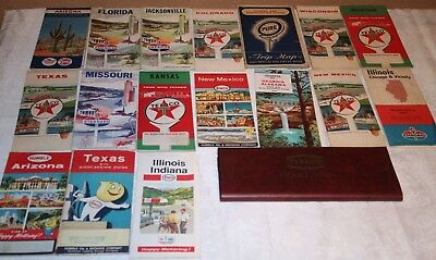 Vtg Lot of 18 GAS & OIL Travel Road Maps 1950's 1960's TEXACO Humble STANDARD