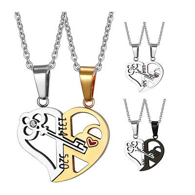 2Pcs Stainless Steel Couple Necklace Heart Pendant Matching Valentine/'s Day