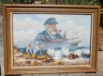 """Lrg Vintage Oil Painting on Canvas """"Dreaming of the Sea"""" with Solid Wood Frame"""