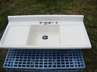 "Vintage 54"" Cast Iron Kitchen Sink with Double Drainboard Farmhouse Sink"