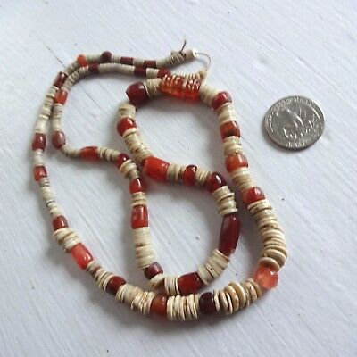Ancient Etched Carnelian Pyu Bead necklace Ostrich Egg Shell beads Antiquity