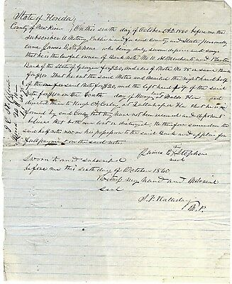 1860 Legal Document STATE OF FLORIDA Regarding Validity of a Bank Note