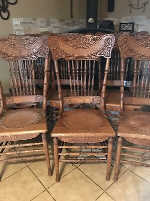 6 Antique Oak Pressback Chairs with Leather Seats