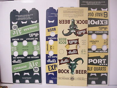 Lot of 4 Different Vintage Hulls Beer six pack holders Cream Ale Bock Export