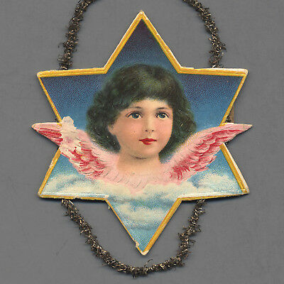 1890s Christmas Scrap Ornament - BRUNETTE GIRL ANGEL within STAR w Tinsel Loops
