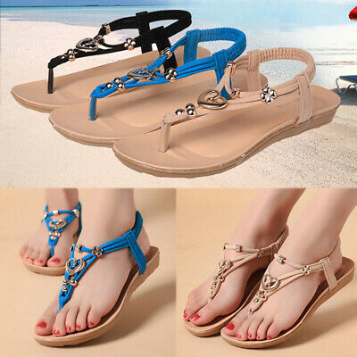 AU Women Summer Casual Sandals Flats Beach Thong Ankle Strap Flip Flops Slippers