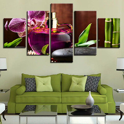 Spa Concept Oil Stone Bamboo Orchid 5 Piece Canvas Print Wall Art