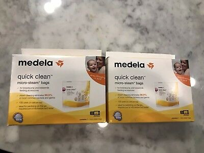 Medela Quick Clean Micro-Steam Bags (2) 5 Count Boxes New Sealed Total 10 Bags