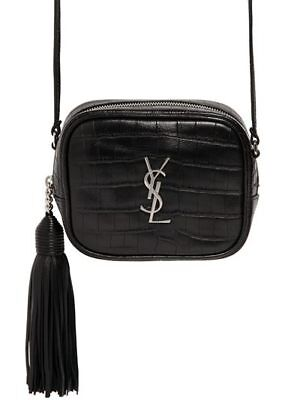 331a0966d3 SAINT LAURENT YSL Monogram Blogger Black Leather Croc Embossed Crossbody Bag