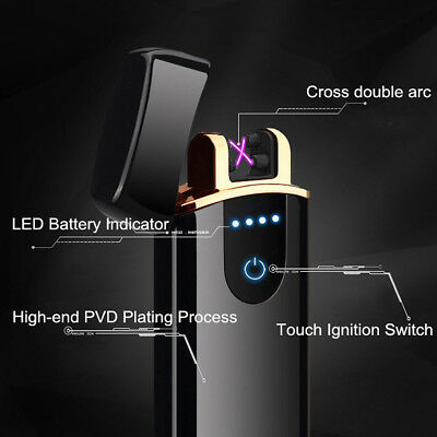 Electric Lighter Double Arch Pulse Plasma Cigarette Flameless Metal USB NEW