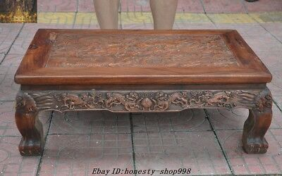 "27""China Huanghuali Wood Carved Dragon Foo Dog Beast Ancient Book desk Tea table"