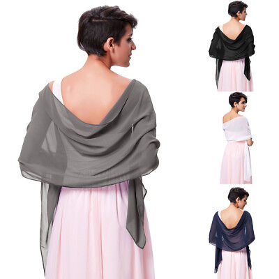 Chiffon Bridal Bridesmaid Wedding Prom Shawl Stole Wrap Bolero Scarf Cover Up