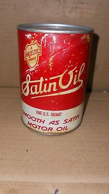 Vintage Majestic Satin OIl Motor Oil  Quart Oil Can  Nice Graphics