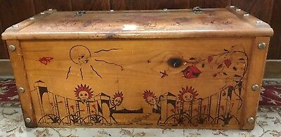 Vintage Kids Antique Wood Toy Box Chest Girl flowers sunshine birdhouse