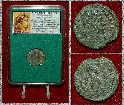 Ancient Roman Coin VALENTINIAN I Emperor Dragging Bound Captive Dramatic Scene