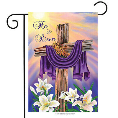 """Easter Cross Religious Outdoor Garden Flag Holiday Lilies 12x18"""" Home Ornament"""