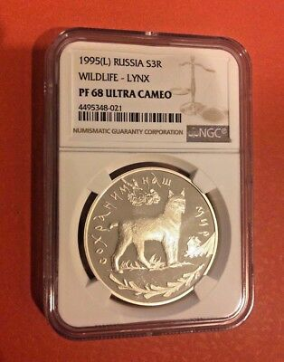 Russia 1995 L Silver 3 Roubles Wildlife Lynx NGC PF68 ULTRA CAMEO