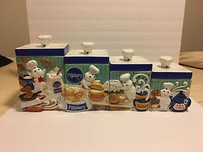 Danbury Mint Pillsbury Doughboy 4 Piece Canister Set Flour Sugar Coffee Tea.