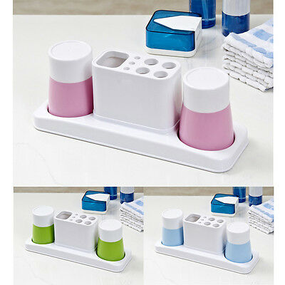 WOW Home Bath Washroom Toothbrush Toothpaste Container Cups Holder Set