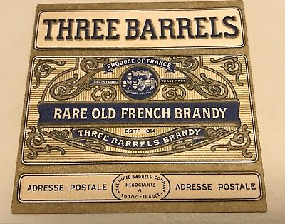 Three Barrels Old French Brandy Vintage Retro Drinks Coaster X 2