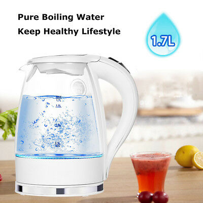 1850W Blue LED Illuminated Glass Electric Kettle Rapid Boil 360° Cordless