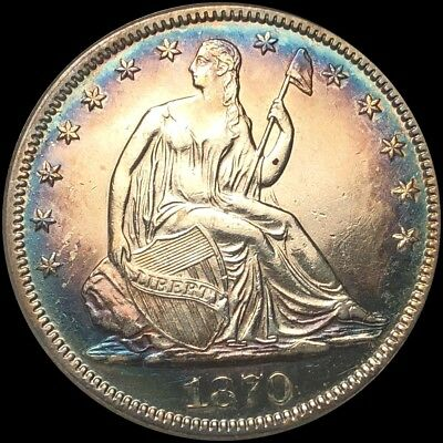 1870 Seated Liberty Silver Half Dollar Uncirculed BU Gorgeous Coin!!! Look Now