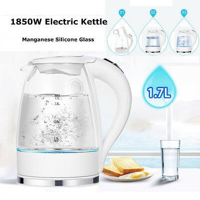 1.7L Blue LED Illuminated Glass Kettle 360° Cordless Electric Rapid Boil