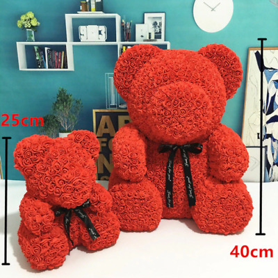 Artificial Flower Rose Bear for Valentines Day Gift Birthday Party Wedding Decor