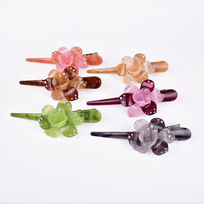 Women Girls Crystal Flower Hair Clips Hairpin Barrette Pins Hair Accessories