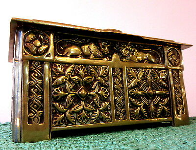 QUALITY Heavy Wood-Lined ANTIQUE Brass CASKET/CIGAR BOX 1262g. High.Relief Decor