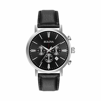Bulova Men's Quartz Stainless Steel and Leather Casual Watch, Color:Black (Mo...