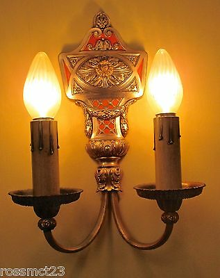 Vintage Lighting large pair 1920s sconces by Lion