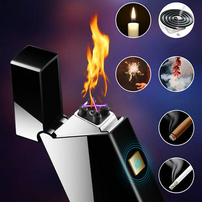 Smart Touch Sensor USB Rechargeable Double Arc Flameless Plasma Electric Lighter