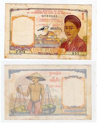 1953 FRENCH INDO-CHINA VIETNAM (99). 1 Of 1 Circ One Piastre 1932 Reissue (RED)