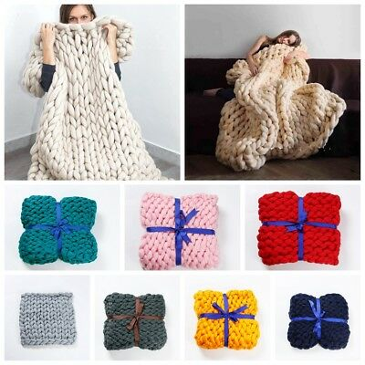 Chunky Knit Blankets Throws Bulky Blanket Soft Knitting Hand-woven Blankets Mat