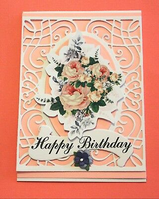 White Happy Birthday Handmade Card DIY Card Making Kit Pink Bouquet Of Flowers